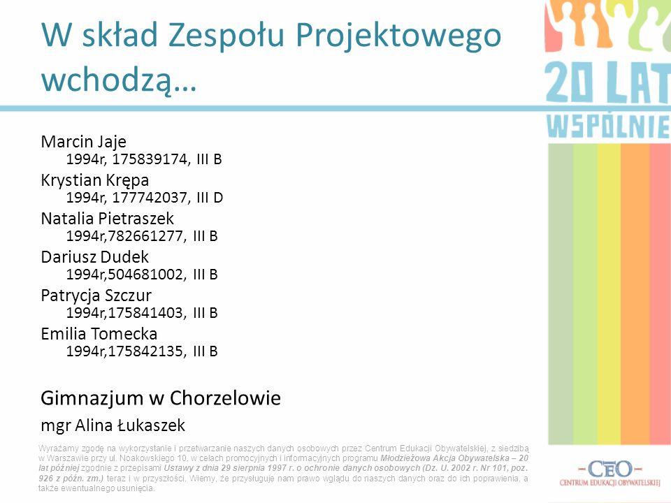 Marcin Jaje 1994r, 175839174, III B Krystian Krępa 1994r, 177742037, III D Natalia Pietraszek 1994r,782661277, III B Dariusz Dudek 1994r,504681002, II