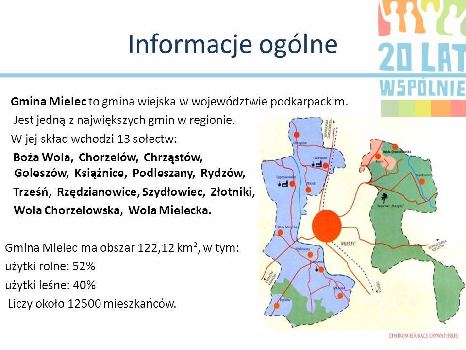 Informacje ogólne Gmina Mielec to gmina wiejska w województwie podkarpackim. Jest jedną z największych gmin w regionie. W jej skład wchodzi 13 sołectw