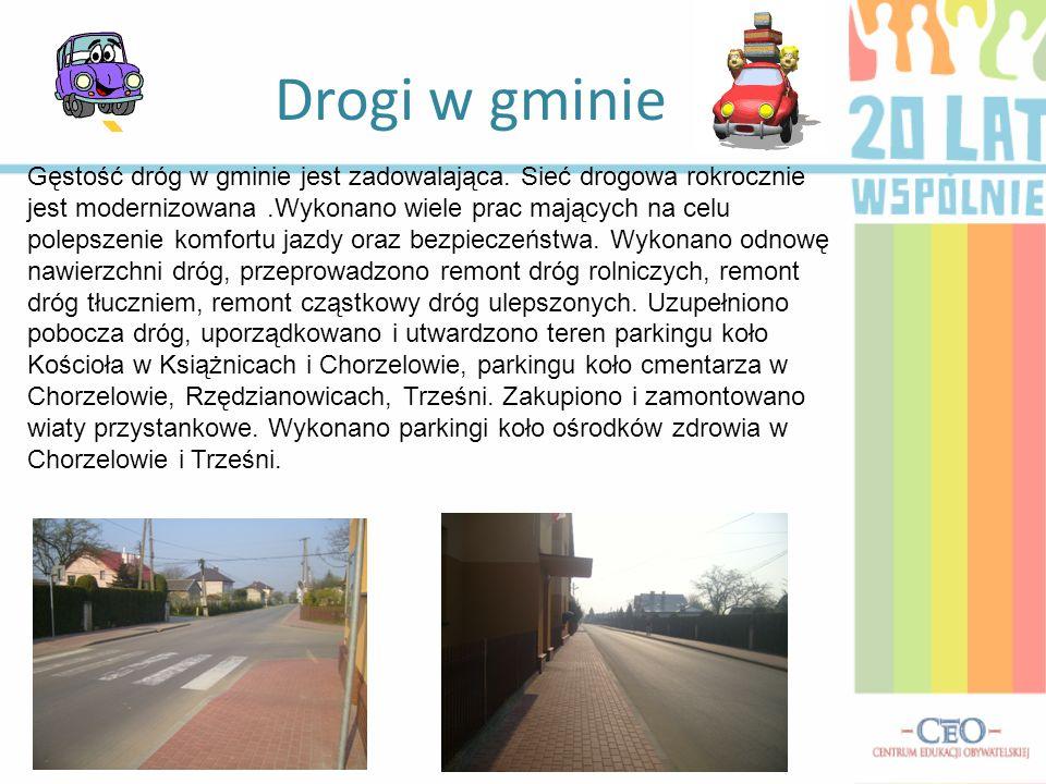 Drogi w gminie Gęstość dróg w gminie jest zadowalająca. Sieć drogowa rokrocznie jest modernizowana.Wykonano wiele prac mających na celu polepszenie ko