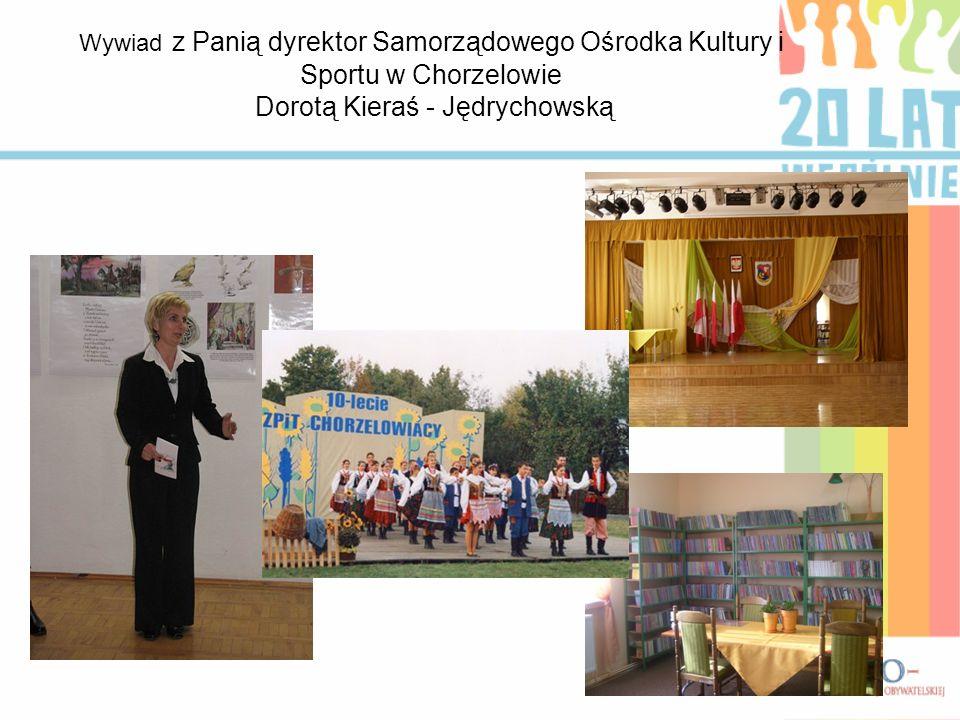 Wywiad z Panią dyrektor Samorządowego Ośrodka Kultury i Sportu w Chorzelowie Dorotą Kieraś - Jędrychowską