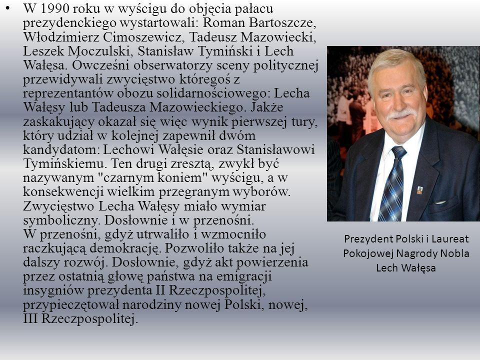 W 1990 roku w wyścigu do objęcia pałacu prezydenckiego wystartowali: Roman Bartoszcze, Włodzimierz Cimoszewicz, Tadeusz Mazowiecki, Leszek Moczulski,