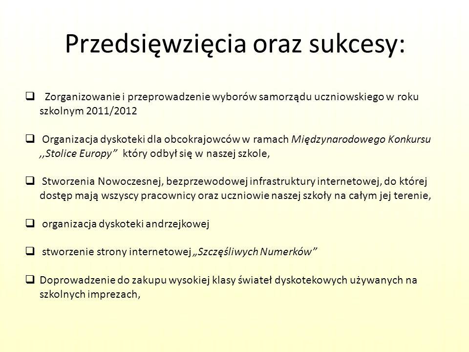 Przedsięwzięcia oraz sukcesy: Zorganizowanie i przeprowadzenie wyborów samorządu uczniowskiego w roku szkolnym 2011/2012 Organizacja dyskoteki dla obc