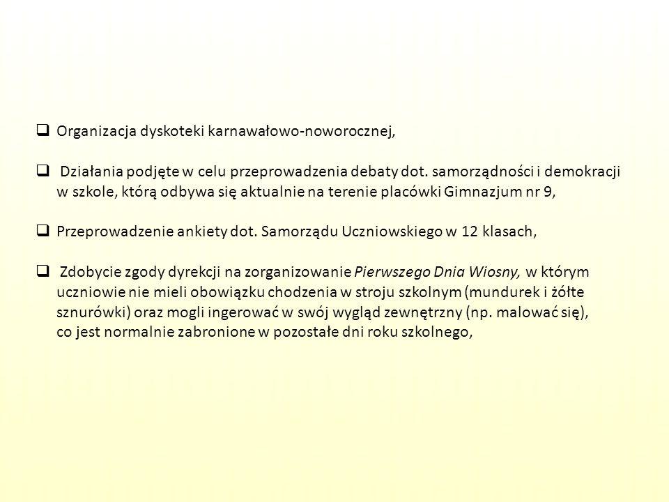 Planowane przedsięwzięcia: Stworzenie strony internetowej Samorządu Uczniowskiego naszej szkoły, Przeprowadzenie ankiet dot.