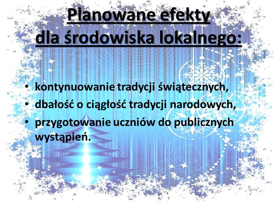 Planowane efekty dla środowiska lokalnego: kontynuowanie tradycji świątecznych, dbałość o ciągłość tradycji narodowych, przygotowanie uczniów do publicznych wystąpień.