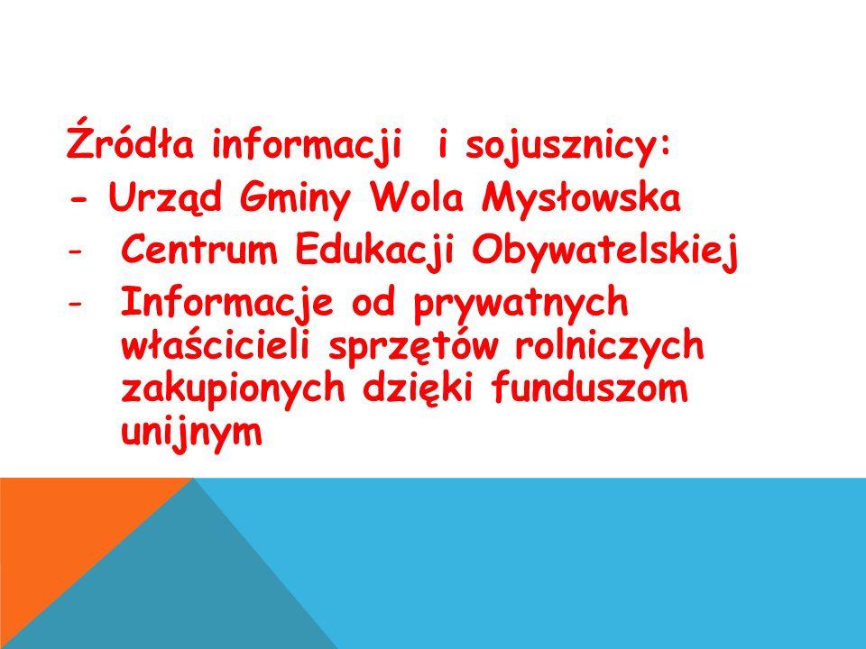 Źródła informacji i sojusznicy: - Urząd Gminy Wola Mysłowska -Centrum Edukacji Obywatelskiej -Informacje od prywatnych właścicieli sprzętów rolniczych