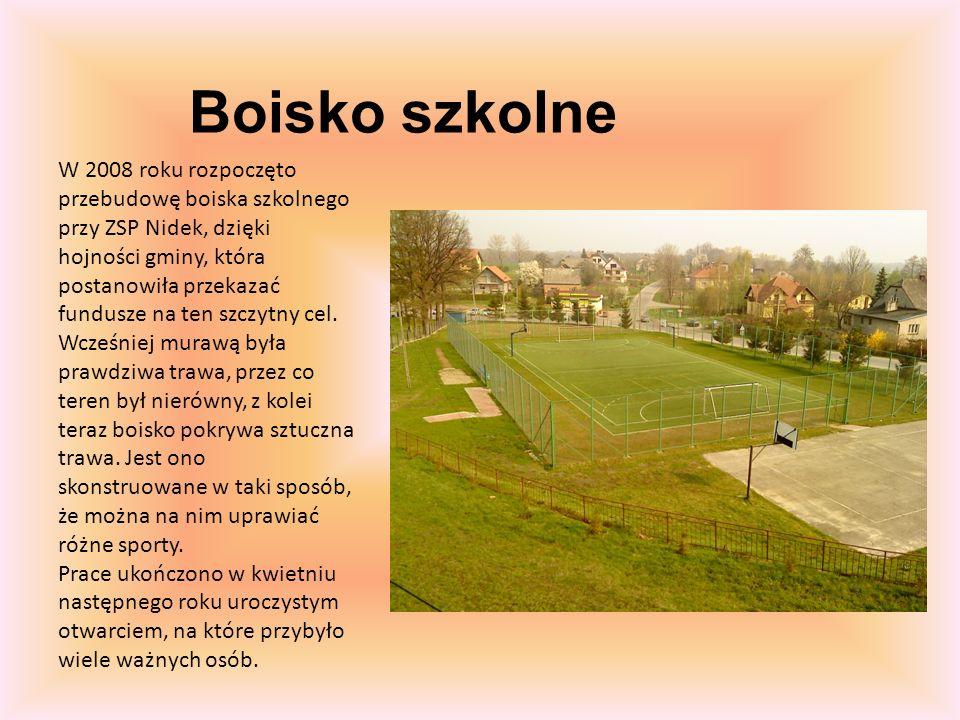 Boisko szkolne W 2008 roku rozpoczęto przebudowę boiska szkolnego przy ZSP Nidek, dzięki hojności gminy, która postanowiła przekazać fundusze na ten szczytny cel.