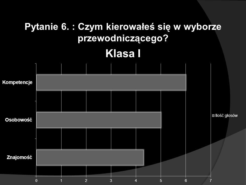 Pytanie 6. : Czym kierowałeś się w wyborze przewodniczącego?