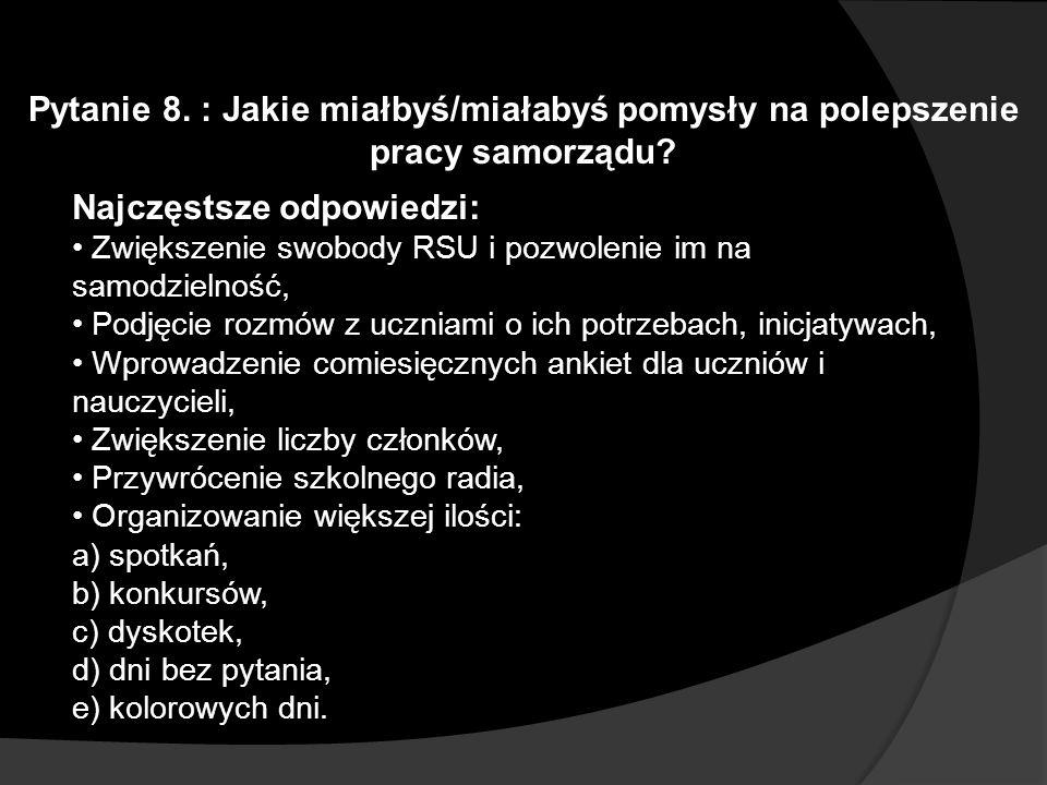 Pytanie 8. : Jakie miałbyś/miałabyś pomysły na polepszenie pracy samorządu? Najczęstsze odpowiedzi: Zwiększenie swobody RSU i pozwolenie im na samodzi