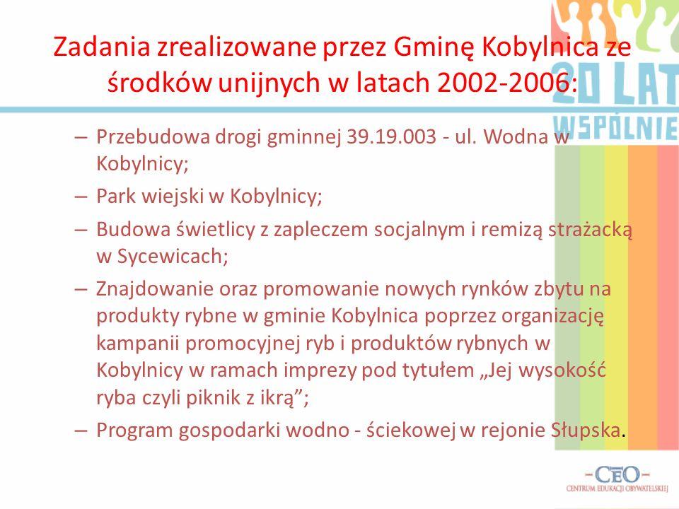 Zadania zrealizowane przez Gminę Kobylnica ze środków unijnych w latach 2002-2006: – Przebudowa drogi gminnej 39.19.003 - ul.