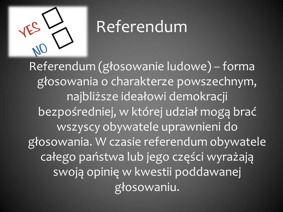 Referendum Referendum (głosowanie ludowe) – forma głosowania o charakterze powszechnym, najbliższe ideałowi demokracji bezpośredniej, w której udział