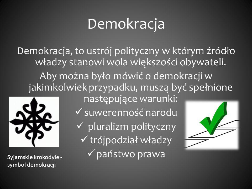 Demokracja Demokracja, to ustrój polityczny w którym źródło władzy stanowi wola większości obywateli. Aby można było mówić o demokracji w jakimkolwiek