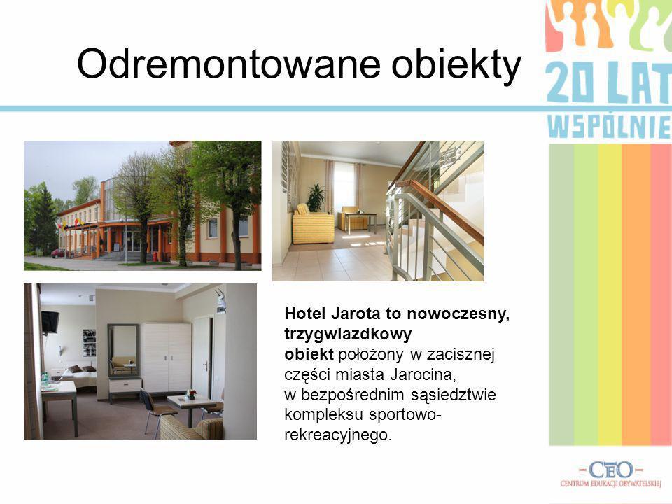 Odremontowane obiekty Hotel Jarota to nowoczesny, trzygwiazdkowy obiekt położony w zacisznej części miasta Jarocina, w bezpośrednim sąsiedztwie komple