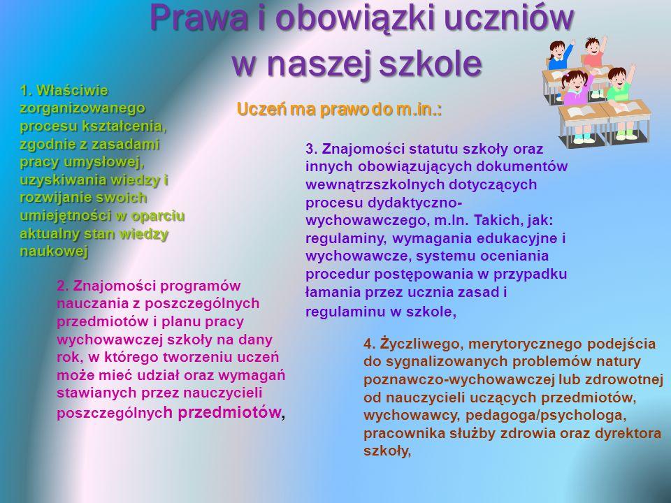 Prawa i obowiązki uczniów w naszej szkole 4. Życzliwego, merytorycznego podejścia do sygnalizowanych problemów natury poznawczo-wychowawczej lub zdrow