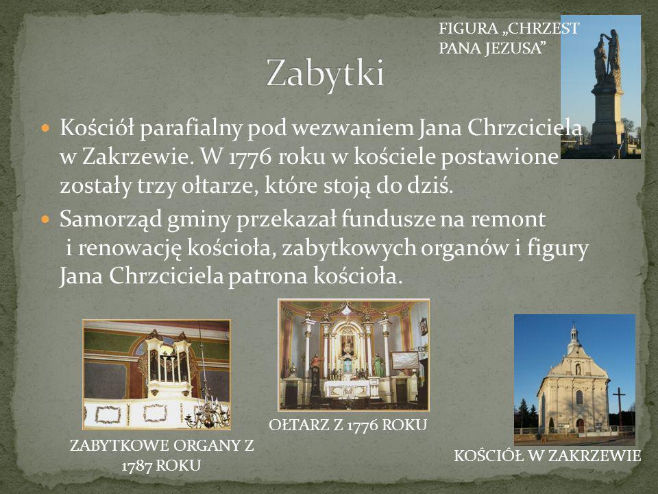 Kościół parafialny pod wezwaniem Jana Chrzciciela w Zakrzewie. W 1776 roku w kościele postawione zostały trzy ołtarze, które stoją do dziś. Samorząd g