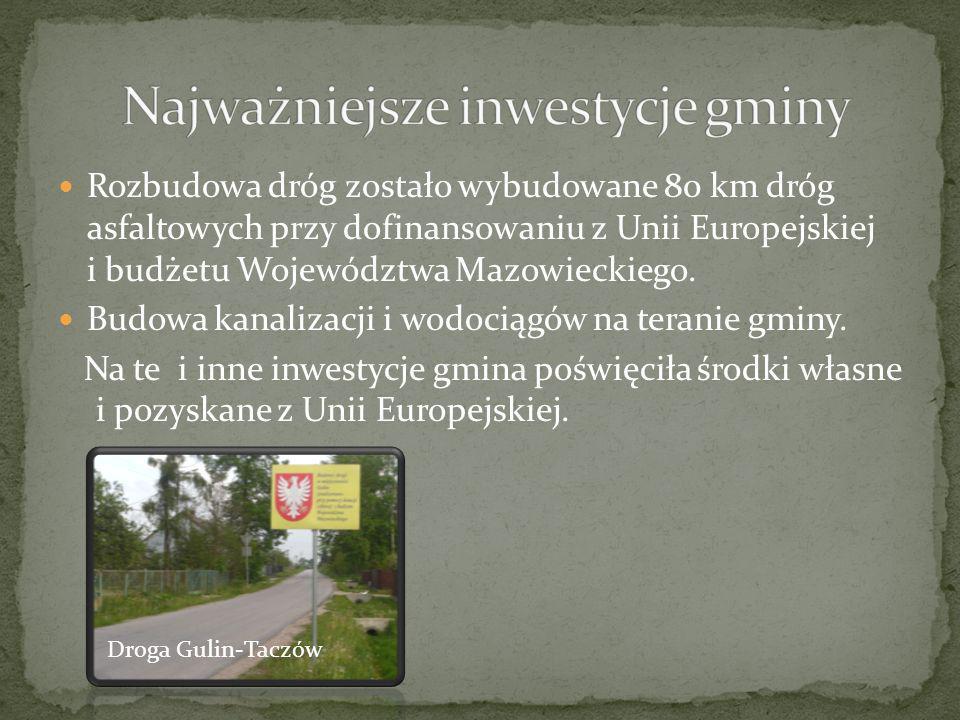 Rozbudowa dróg zostało wybudowane 80 km dróg asfaltowych przy dofinansowaniu z Unii Europejskiej i budżetu Województwa Mazowieckiego. Budowa kanalizac