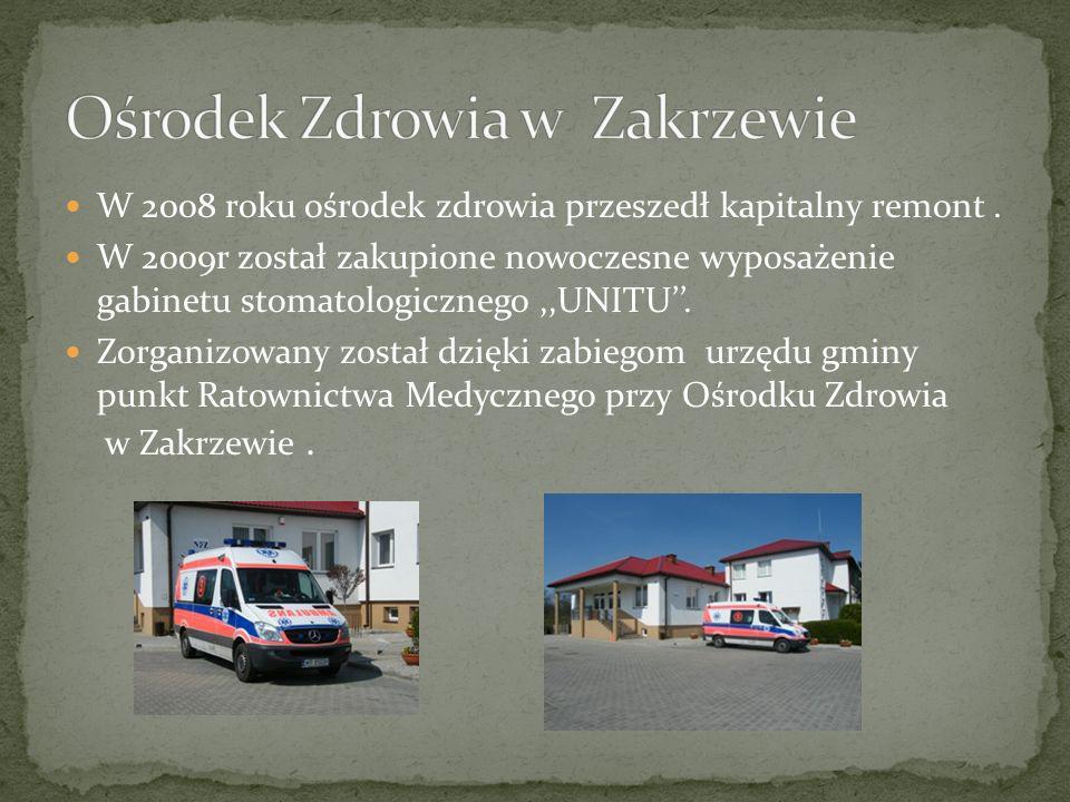W 2008 roku ośrodek zdrowia przeszedł kapitalny remont. W 2009r został zakupione nowoczesne wyposażenie gabinetu stomatologicznego,,UNITU. Zorganizowa