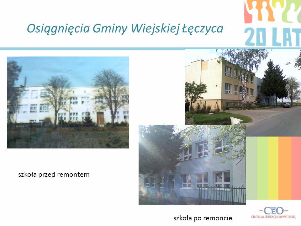 Osiągnięcia Gminy Wiejskiej Łęczyca szkoła przed remontem szkoła po remoncie