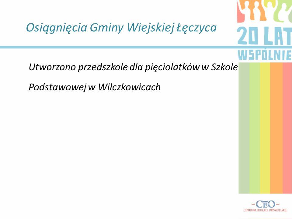 Osiągnięcia Gminy Wiejskiej Łęczyca Utworzono przedszkole dla pięciolatków w Szkole Podstawowej w Wilczkowicach