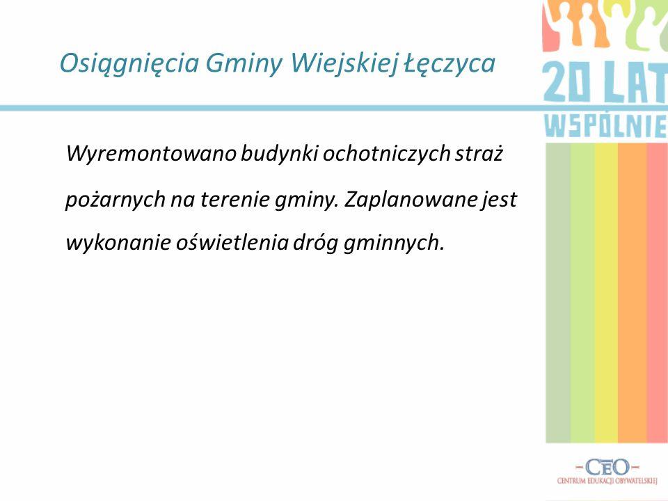 Osiągnięcia Gminy Wiejskiej Łęczyca Czy na terenie gminy powstały ścieżki pieszo- rowerowe.