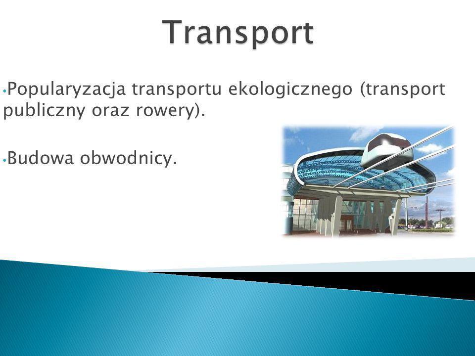 Popularyzacja transportu ekologicznego (transport publiczny oraz rowery). Budowa obwodnicy.