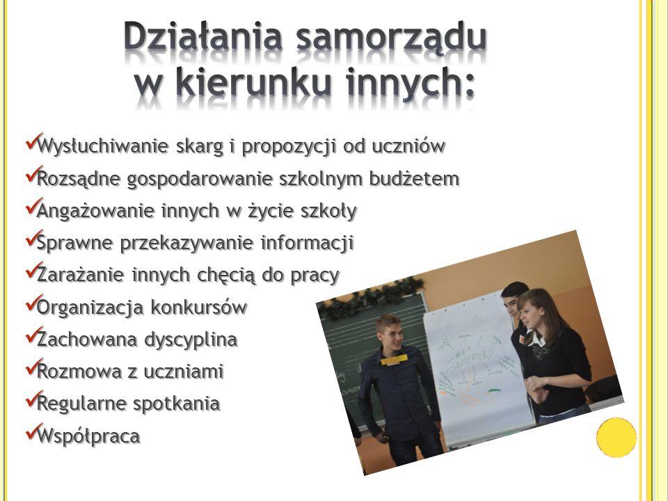 Wysłuchiwanie skarg i propozycji od uczniów Wysłuchiwanie skarg i propozycji od uczniów Rozsądne gospodarowanie szkolnym budżetem Rozsądne gospodarowa