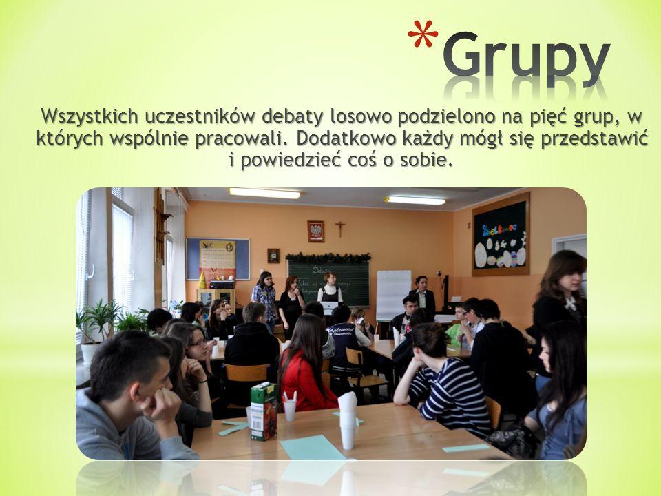 Wszystkich uczestników debaty losowo podzielono na pięć grup, w których wspólnie pracowali. Dodatkowo każdy mógł się przedstawić i powiedzieć coś o so