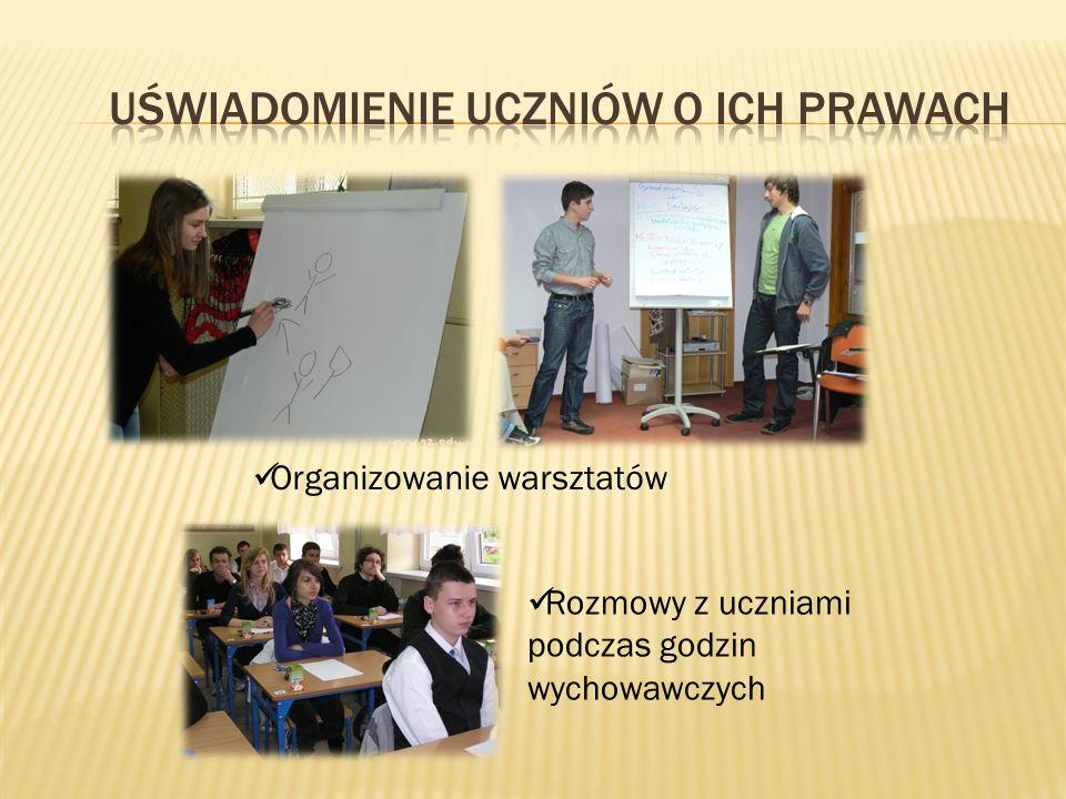 Organizowanie warsztatów Rozmowy z uczniami podczas godzin wychowawczych