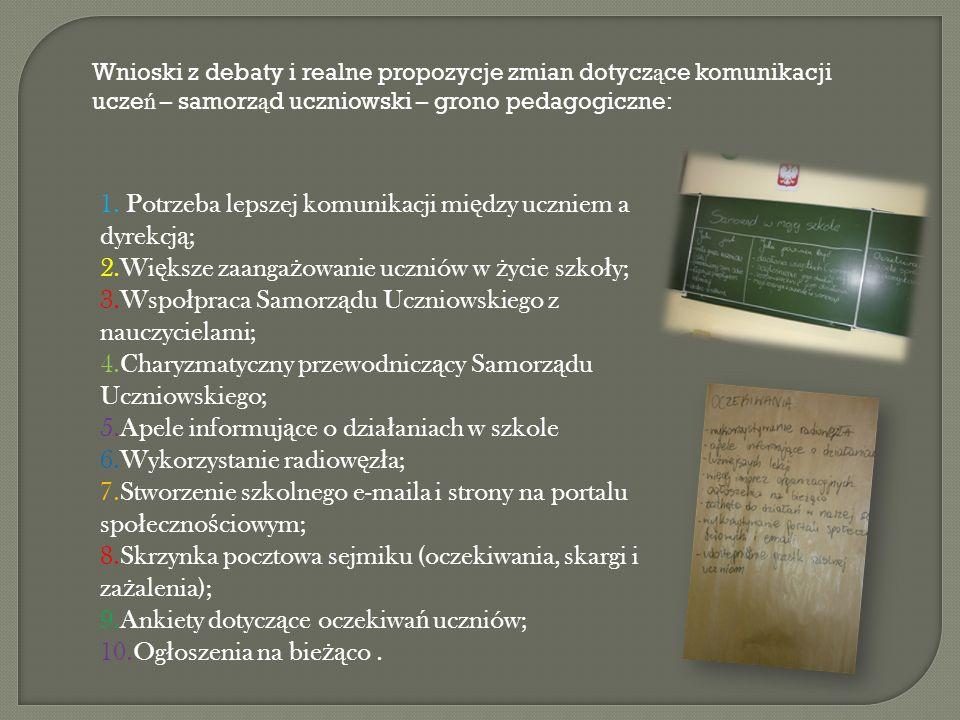 Wnioski z debaty i realne propozycje zmian dotycz ą ce komunikacji ucze ń – samorz ą d uczniowski – grono pedagogiczne: 1.