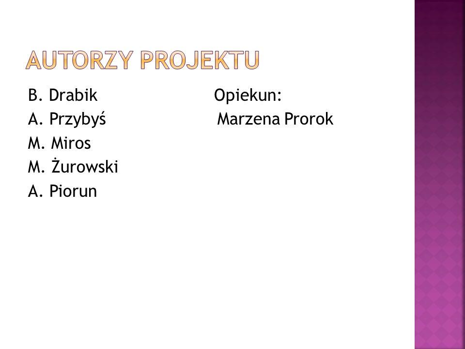 B. DrabikOpiekun: A. Przybyś Marzena Prorok M. Miros M. Żurowski A. Piorun