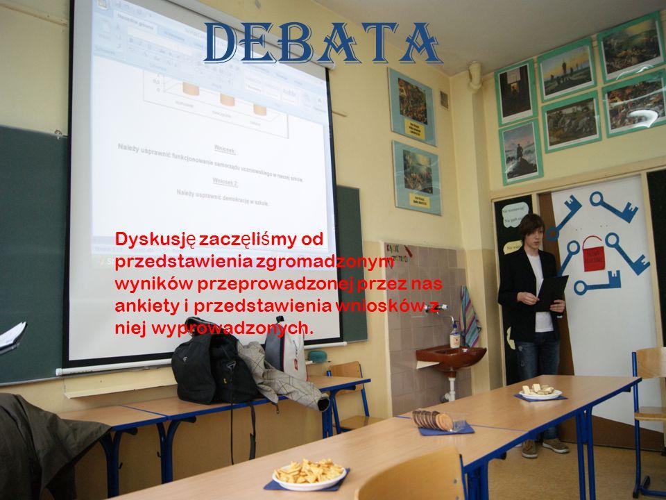 Debata Dyskusj ę zacz ę li ś my od przedstawienia zgromadzonym wyników przeprowadzonej przez nas ankiety i przedstawienia wniosków z niej wyprowadzonych.
