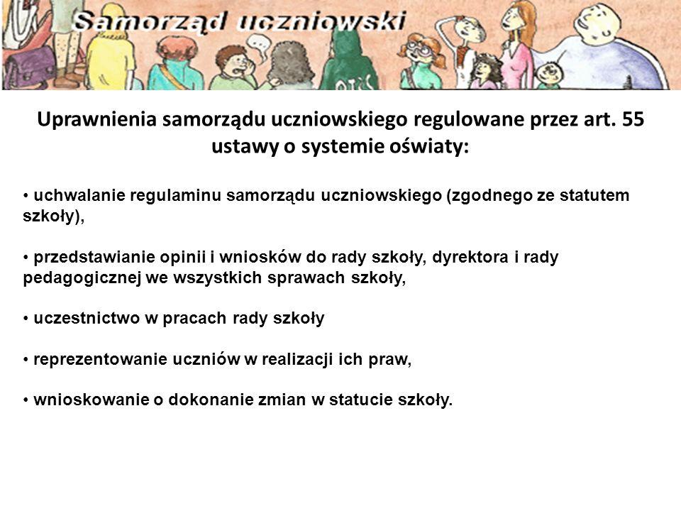 Uprawnienia samorządu uczniowskiego regulowane przez art.
