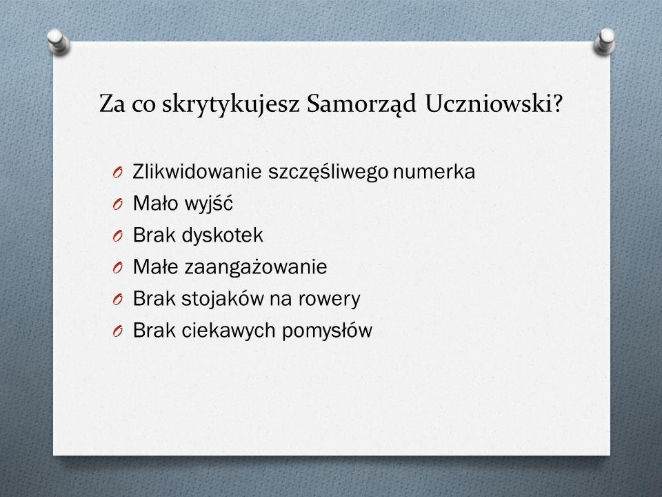Za co skrytykujesz Samorząd Uczniowski.