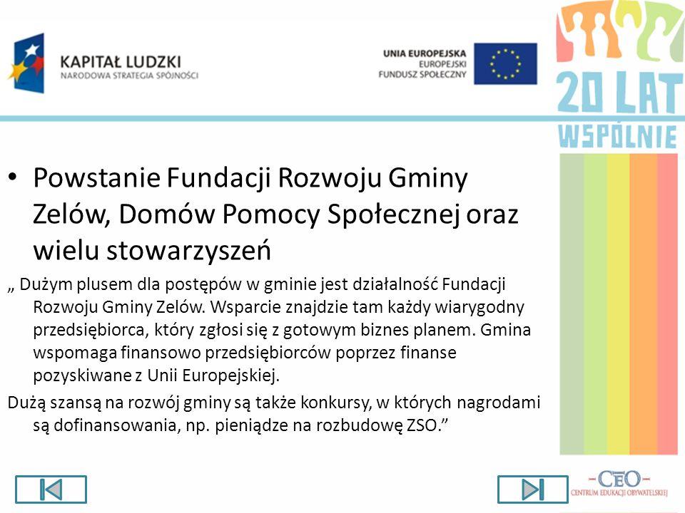 Powstanie Fundacji Rozwoju Gminy Zelów, Domów Pomocy Społecznej oraz wielu stowarzyszeń Dużym plusem dla postępów w gminie jest działalność Fundacji R