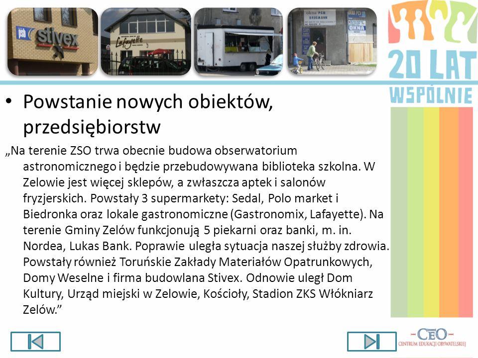 Powstanie nowych obiektów, przedsiębiorstw Na terenie ZSO trwa obecnie budowa obserwatorium astronomicznego i będzie przebudowywana biblioteka szkolna