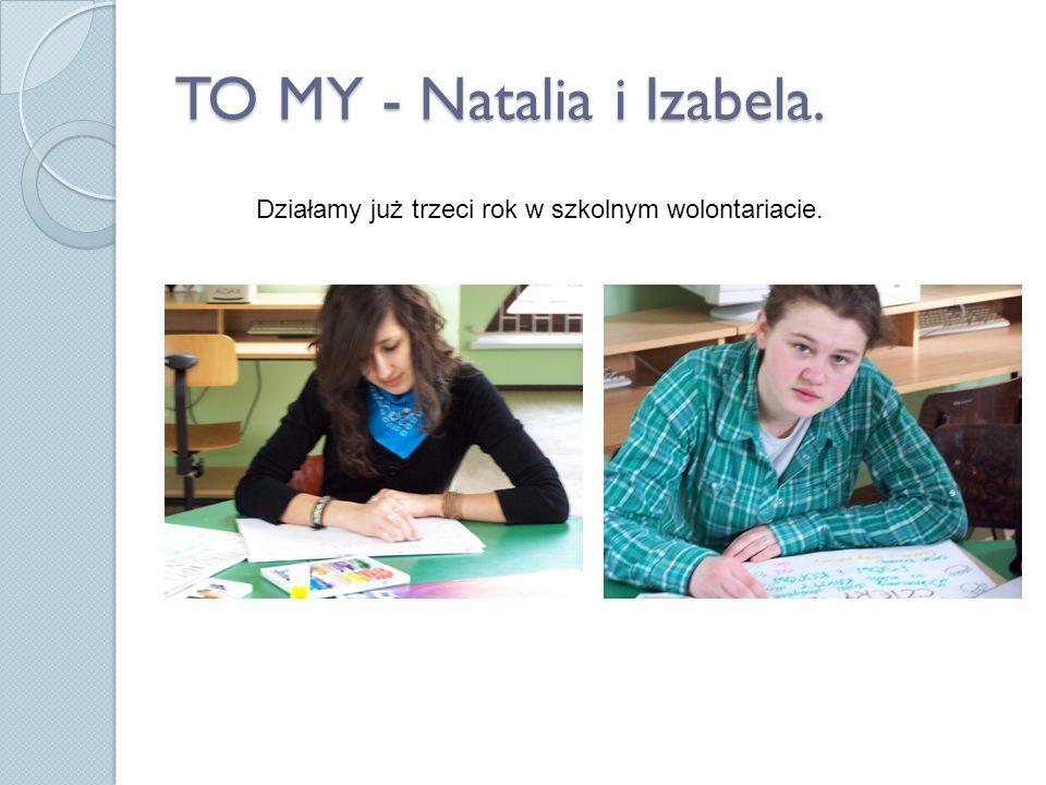 TO MY - Natalia i Izabela. Działamy już trzeci rok w szkolnym wolontariacie.