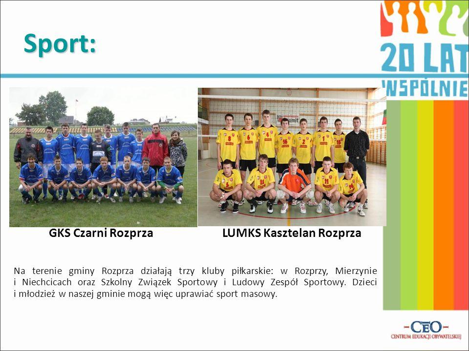 Sport: GKS Czarni Rozprza LUMKS Kasztelan Rozprza Na terenie gminy Rozprza działają trzy kluby piłkarskie: w Rozprzy, Mierzynie i Niechcicach oraz Szk