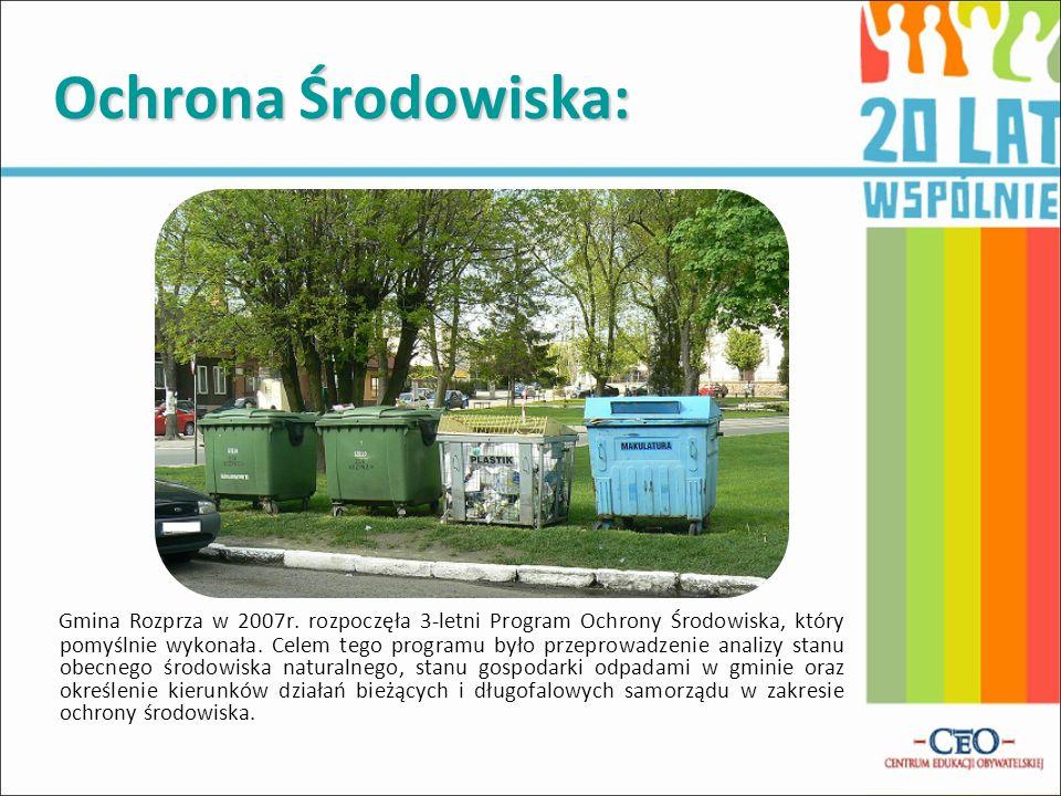 Ochrona Środowiska: Gmina Rozprza w 2007r. rozpoczęła 3-letni Program Ochrony Środowiska, który pomyślnie wykonała. Celem tego programu było przeprowa