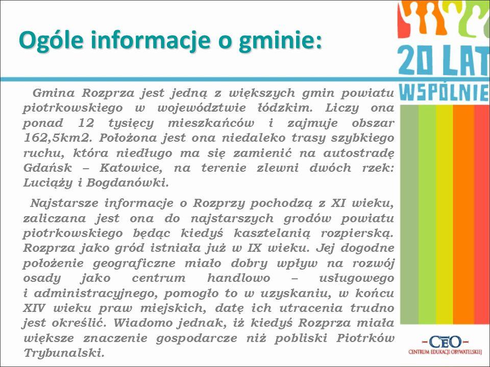 Gmina Rozprza jest jedną z większych gmin powiatu piotrkowskiego w województwie łódzkim. Liczy ona ponad 12 tysięcy mieszkańców i zajmuje obszar 162,5