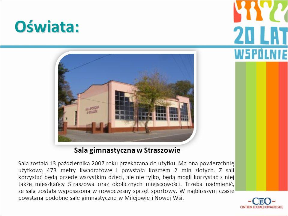 Oświata: Sala została 13 października 2007 roku przekazana do użytku. Ma ona powierzchnię użytkową 473 metry kwadratowe i powstała kosztem 2 mln złoty