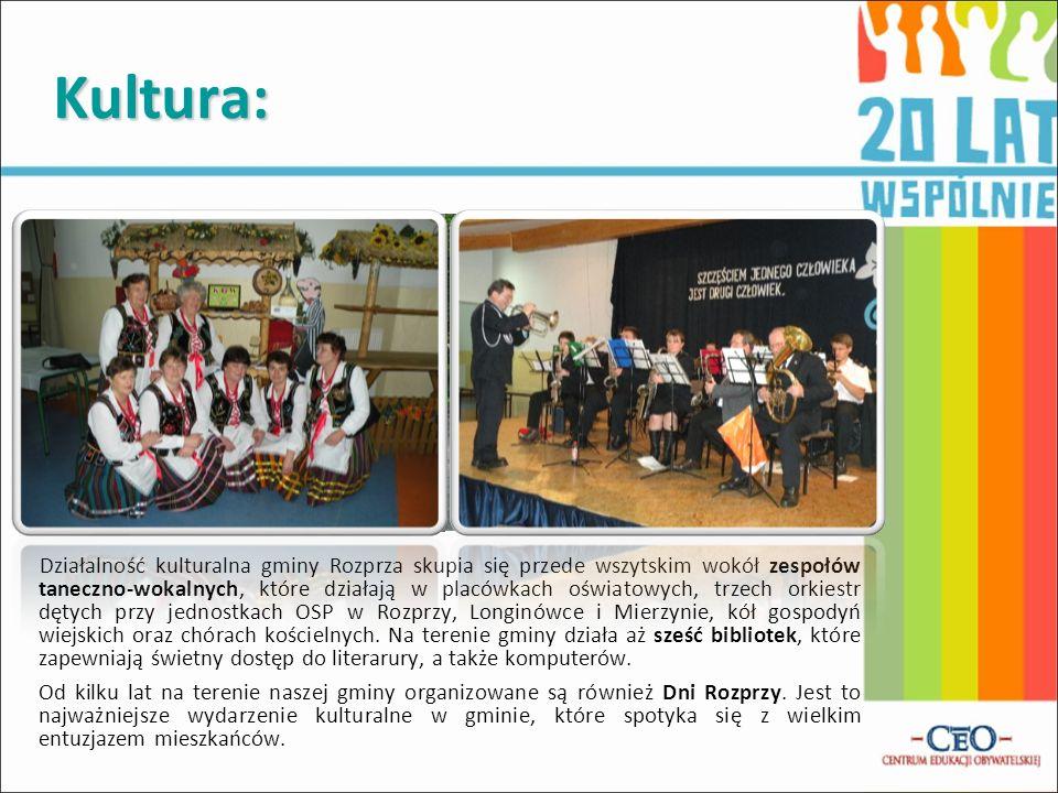 Kultura: Działalność kulturalna gminy Rozprza skupia się przede wszytskim wokół zespołów taneczno-wokalnych, które działają w placówkach oświatowych,