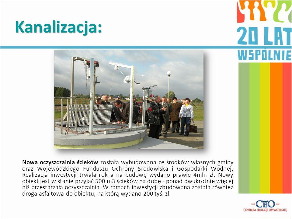 Kanalizacja: Nowa oczyszczalnia ścieków została wybudowana ze środków własnych gminy oraz Wojewódzkiego Funduszu Ochrony Środowiska i Gospodarki Wodne