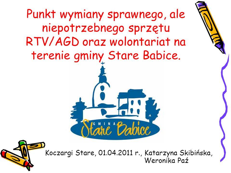 Punkt wymiany sprawnego, ale niepotrzebnego sprzętu RTV/AGD oraz wolontariat na terenie gminy Stare Babice.