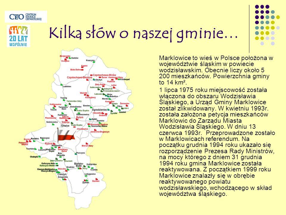 Kilka słów o naszej gminie… Marklowice to wieś w Polsce położona w województwie śląskim w powiecie wodzisławskim. Obecnie liczy około 5 200 mieszkańcó