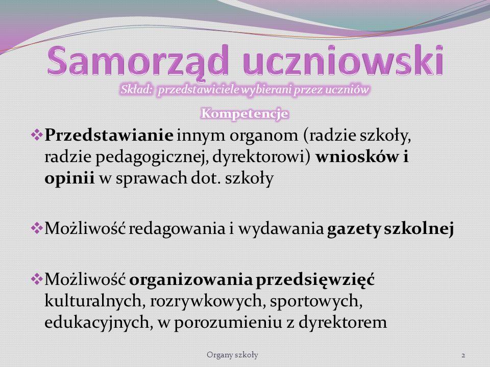 Przedstawianie innym organom (radzie szkoły, radzie pedagogicznej, dyrektorowi) wniosków i opinii w sprawach dot.