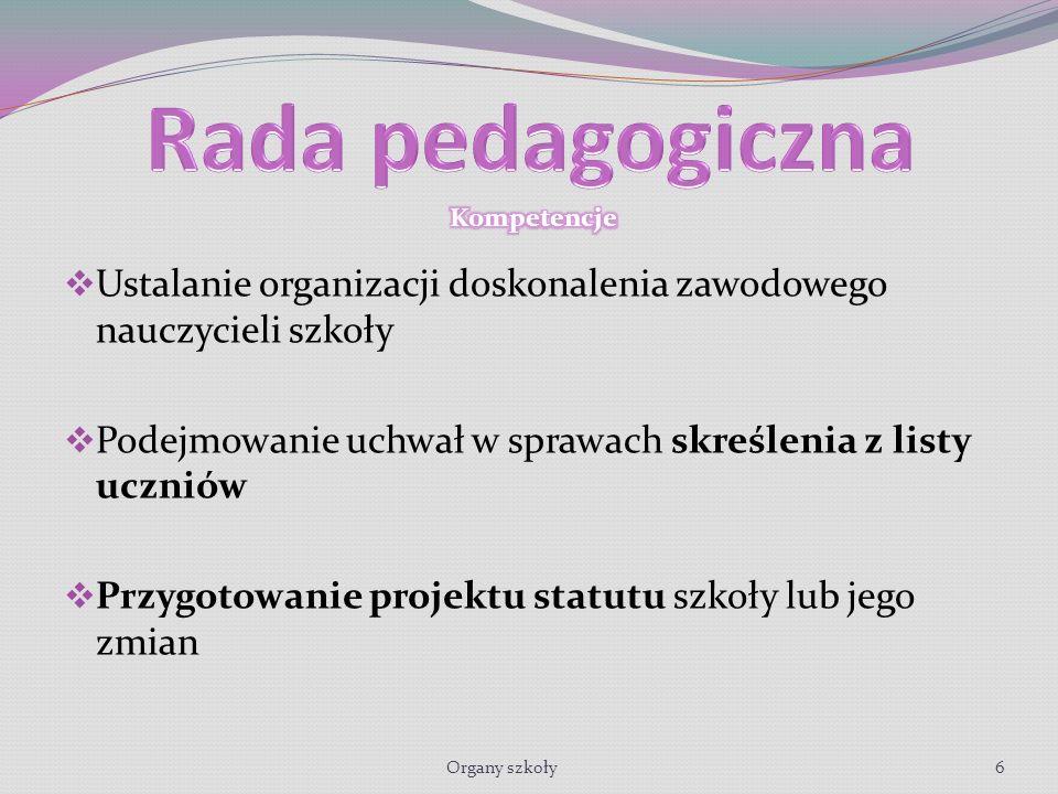 Ustalanie organizacji doskonalenia zawodowego nauczycieli szkoły Podejmowanie uchwał w sprawach skreślenia z listy uczniów Przygotowanie projektu statutu szkoły lub jego zmian Organy szkoły6
