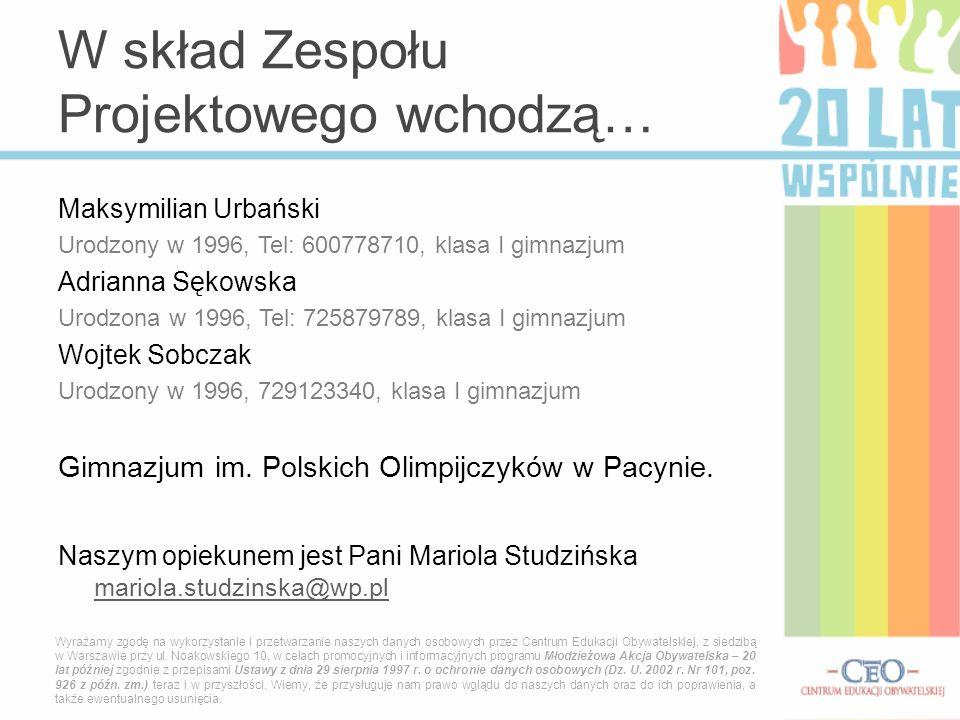 Maksymilian Urbański Urodzony w 1996, Tel: 600778710, klasa I gimnazjum Adrianna Sękowska Urodzona w 1996, Tel: 725879789, klasa I gimnazjum Wojtek So