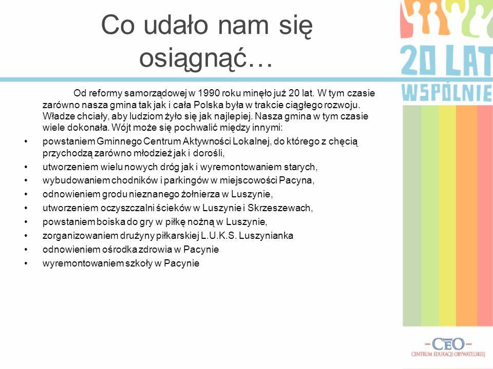 Co udało nam się osiągnąć… Od reformy samorządowej w 1990 roku minęło już 20 lat. W tym czasie zarówno nasza gmina tak jak i cała Polska była w trakci