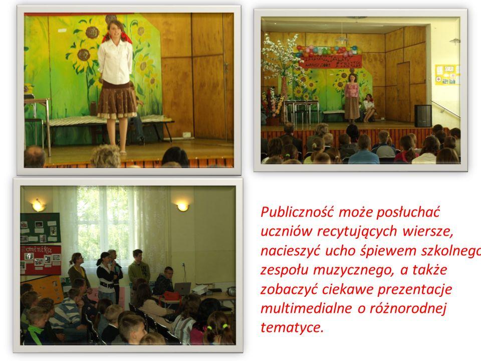 Publiczność może posłuchać uczniów recytujących wiersze, nacieszyć ucho śpiewem szkolnego zespołu muzycznego, a także zobaczyć ciekawe prezentacje mul