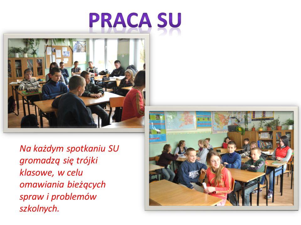 Na każdym spotkaniu SU gromadzą się trójki klasowe, w celu omawiania bieżących spraw i problemów szkolnych.