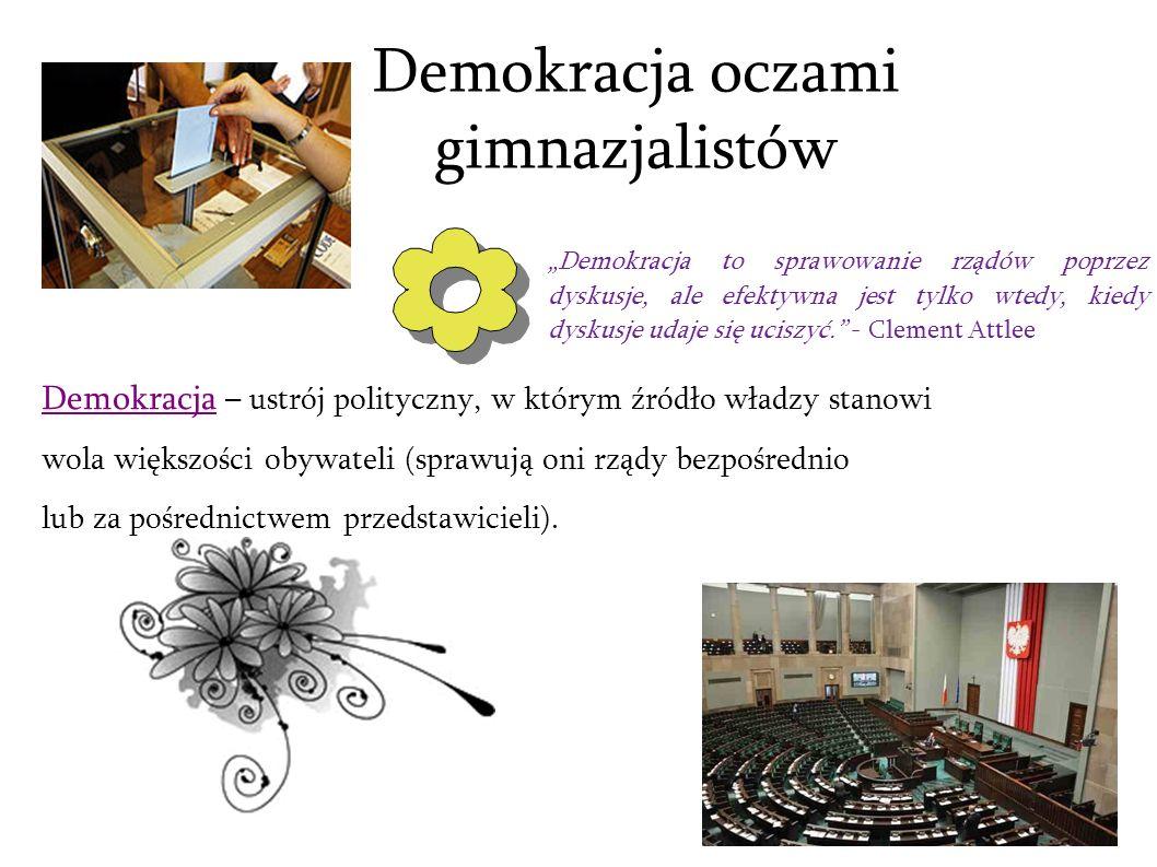 Demokracja oczami gimnazjalistów Demokracja – ustrój polityczny, w którym źródło władzy stanowi wola większości obywateli (sprawują oni rządy bezpośre